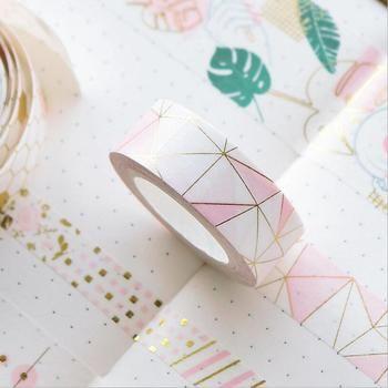 JUKUAI 1-3cm*5m Vintage Pink Bronzing Decoration Washi Tape DIY Decorative Scrapbooking Sticker Planner Masking Adhesive Tape