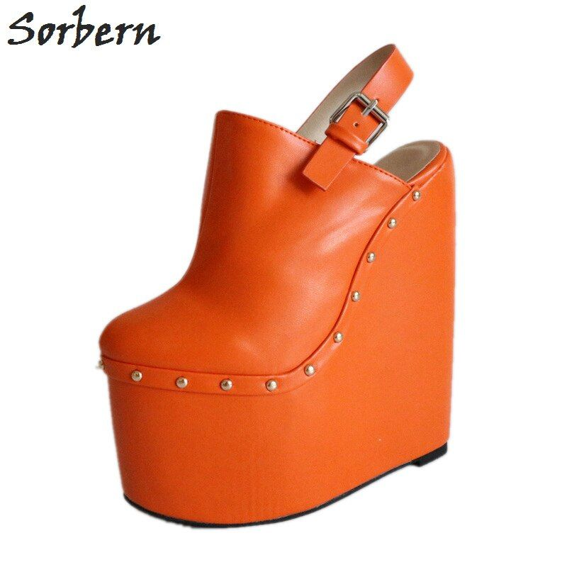 Sorbern Orange Pointed Toe Slingback Pumps Women Custom Platform Heels Slip On Wedges Female Heels Mules Rivets Ladies Size 46