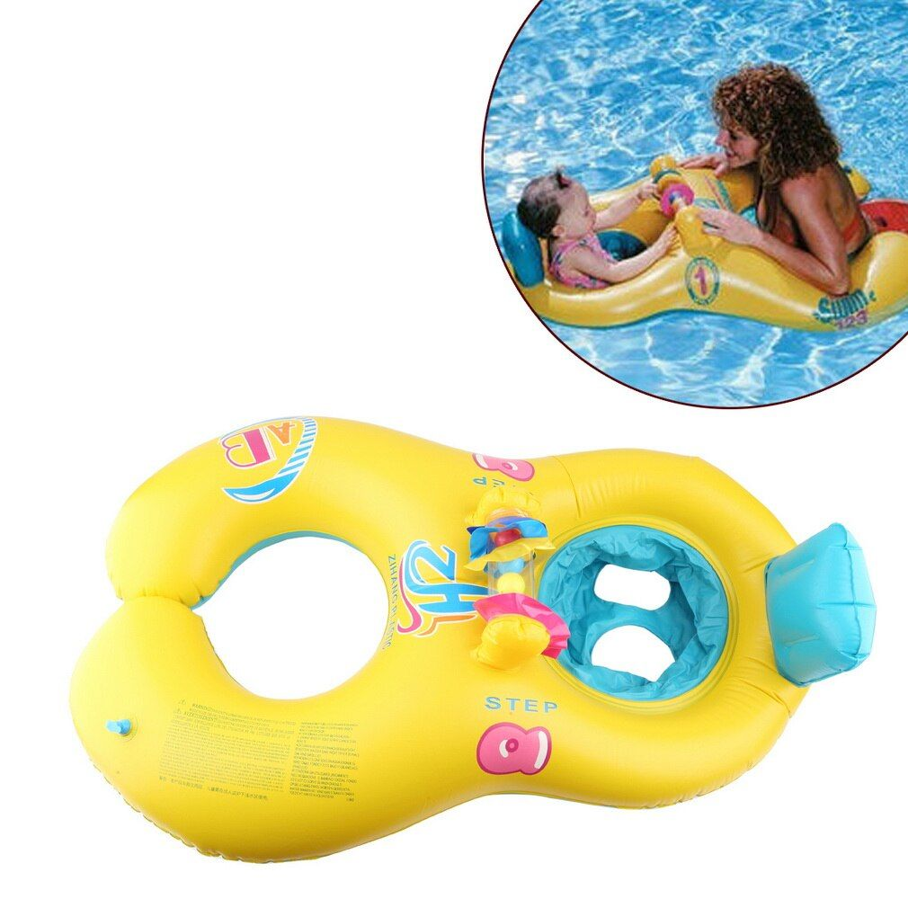 Gonflable mère bébé nager flotteur anneau enfants siège Double personne natation anneau doux natation cercle babyflotteur accessoires piscine