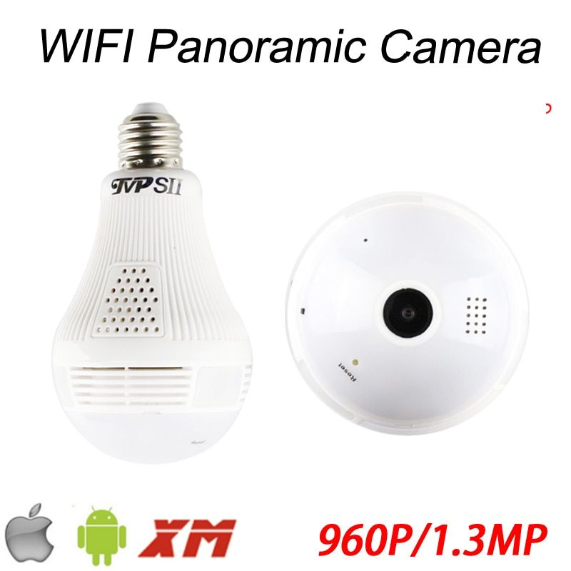 ICSee APP 1.3mp 960P 128G Fisheye 3D VR Panoramic Bulb Wifi Wireless Infrared IP CCTV Surveillance Camera Free Shipping