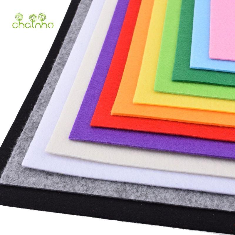 Tissu de Polyester de tissu Non tissé de feutre épais de 3mm pour coudre des poupées artisanat décoration de maison paquet de modèle 12 pièces 30*30 cm PFH030