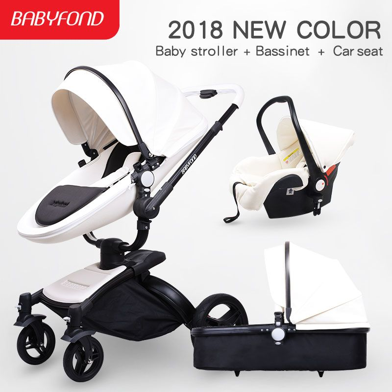 2018 new color babyfond baby stroller leather quality 3 in1 baby stroller black body black frame white leather baby carriage