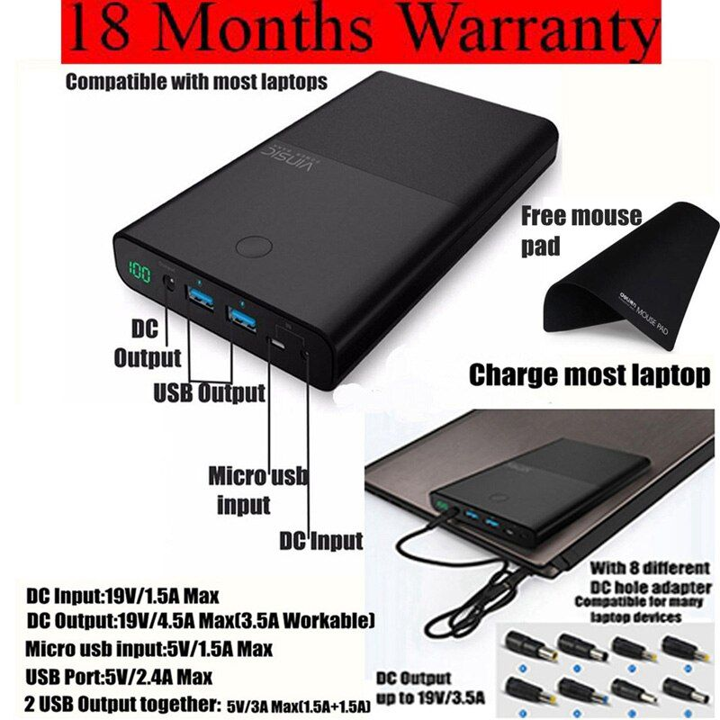 Vinsic DC 19V Power Bank 30000mah for Notebook PC ASUS Lenovo Samsung Laptop Powerbank External Battery Charger 1 Year Warranty