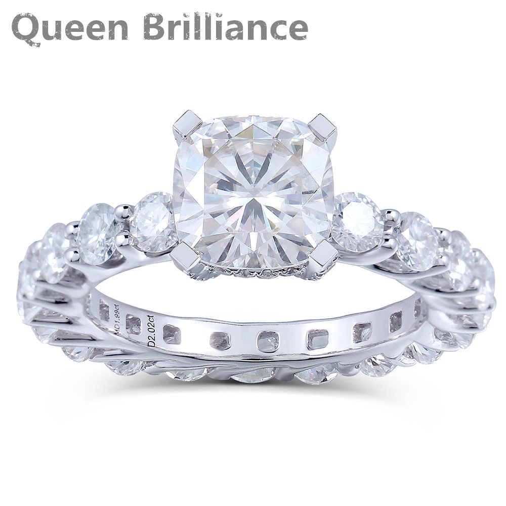 2 Carat F Color Lab Grown Cushion Cut Moissanite Diamond Engagement Wedding Fashionable Ring Solid 14K 585 White Gold For Women