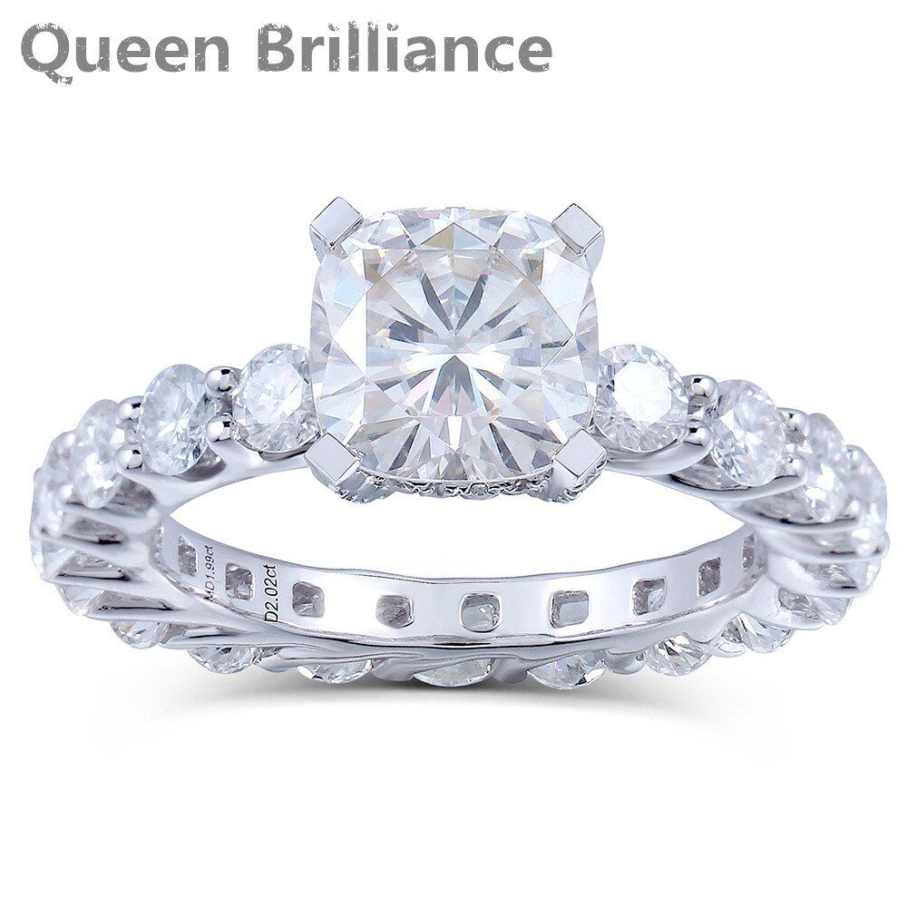 2 Karat F Farbe Lab Grown Cushion Cut Moissanite Diamant Engagement Hochzeit Modische Ring Solide 14 Karat 585 Weiß Gold Für frauen