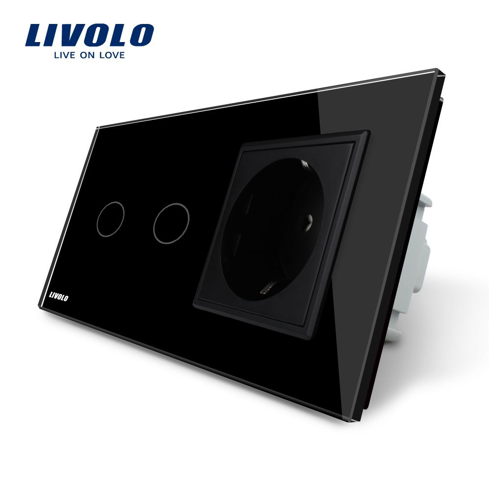 Livolo EU Standard Wall Socket with Touch Switch, Black Crystal Glass Panel, AC 220~250V, 16A ,VL-C702-12 / VL-C7C1EU-12