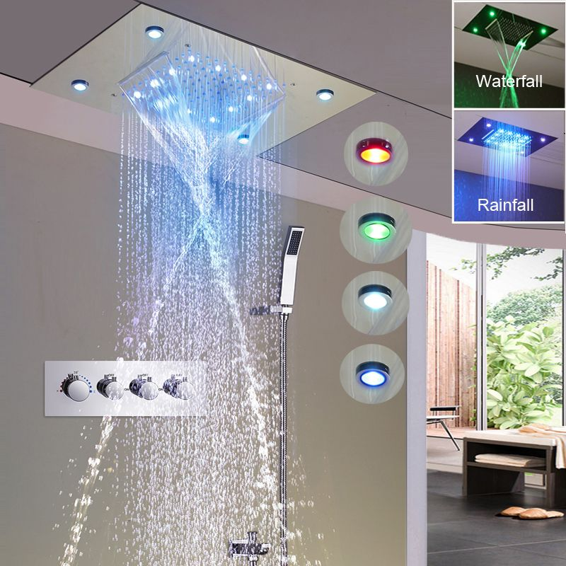 Regen Brausegarnitur 360*500mm Neue Design Luxus Dusche System Decke Wasserfall Massage Armaturen Thermostaic Umschaltventil