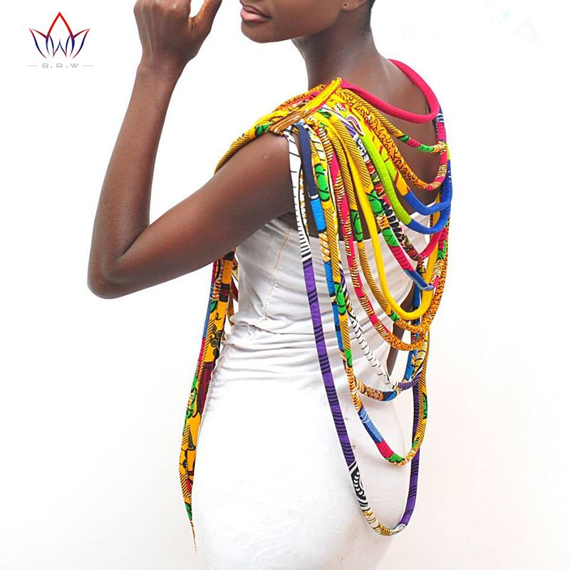 BRW 2019 colliers Ankara africains tissu imprimé cire collier coloré châle africain Ankara collier fait main bijoux tribaux WYX06