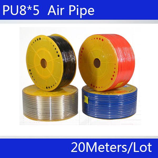 Livraison gratuite pièces pneumatiques 8mm PU tuyau 20 M/lot pour air pneumatique tuyau air tuyau 8*5 compresseur tuyau luchtslang