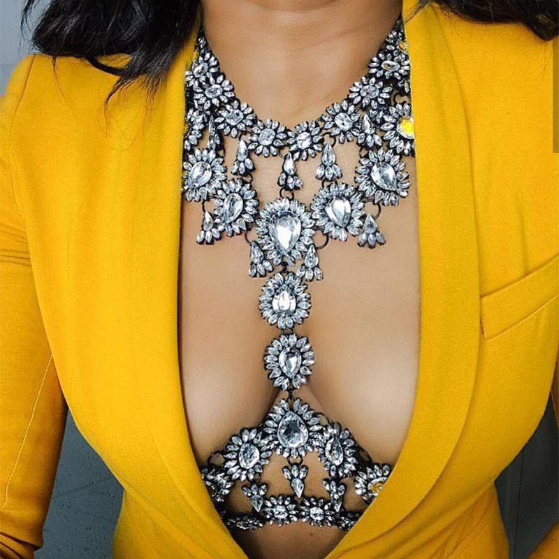 2017 HOT Fashion Sex Exquisite Bodychain Vintage crystal necklaces For Women Statement Bijoux Femme Jewelry bodychain
