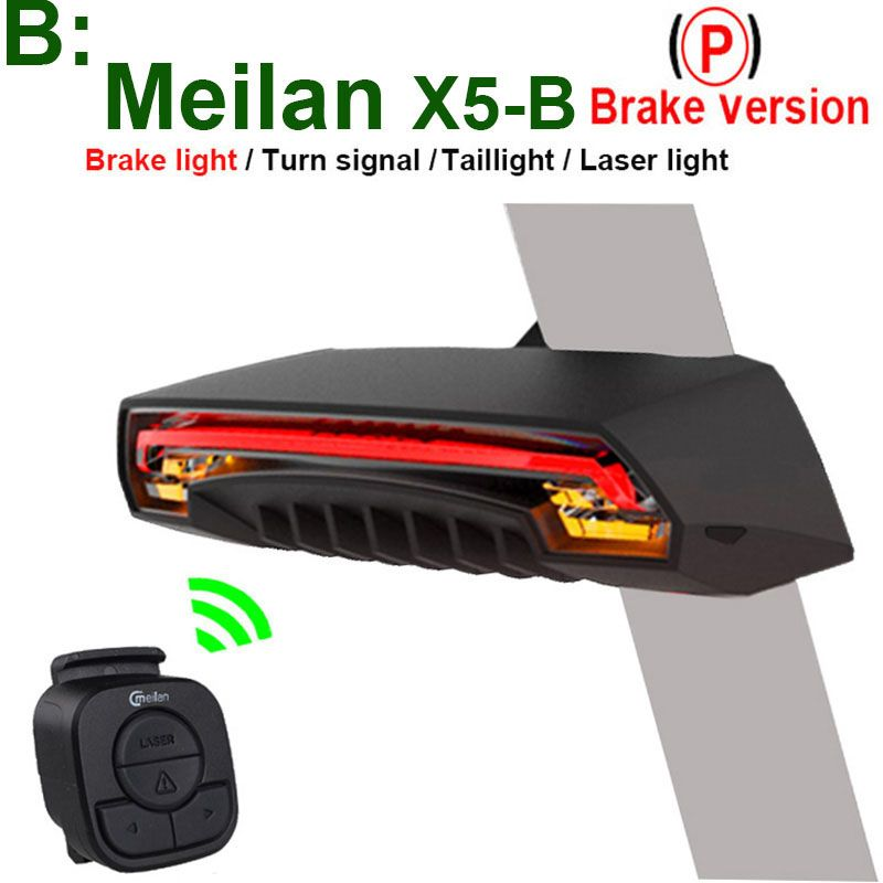 CMeilan X5-B Wireless Bike <font><b>Brake</b></font> Rear Light Bicycle laser tail lamp Smart USB Rechargeable Cycling Accessories Remote Turn led