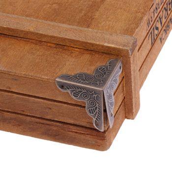10 pcs/ensemble Bijoux Cadeau Boîte En Bois Cas Tronc Meubles Matériel Bureau Armoire Coin Décor Protecteur Bronze Ton