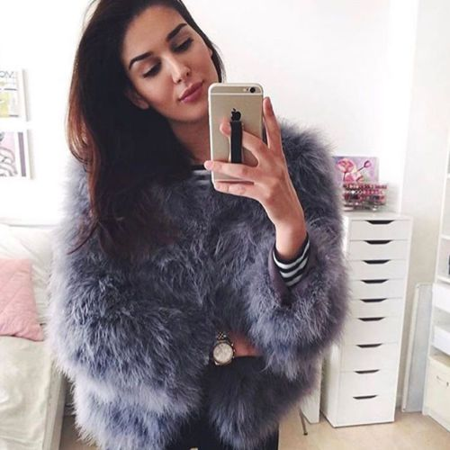 100% Hand-Made Fluffy Feather Fever Fur Jackets Knitted Genuine Ostrich Fur Coat Women Retail Wholesale Grey fluffy fur fever