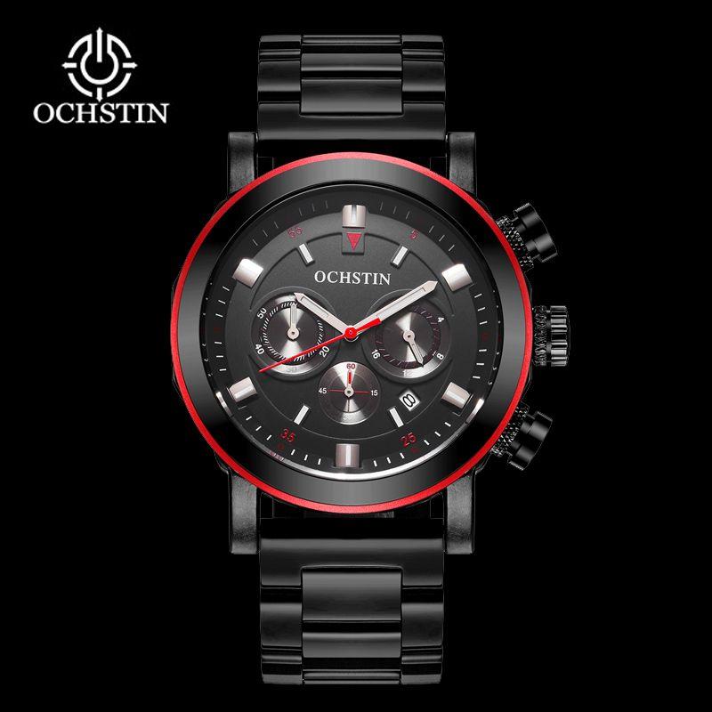 OCHSTIN Men Business Watches Waterproof Chronograph Watch Man Steel Sport Quartz Wrist Watch Men Clock Male Black Red 2018