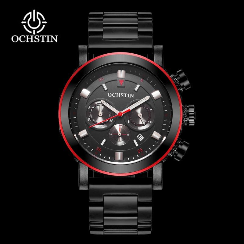 OCHSTIN Men Business Watches Waterproof Chronograph Watch Man Steel Sport Quartz Wrist Watch Men Clock Male Black Red 2018
