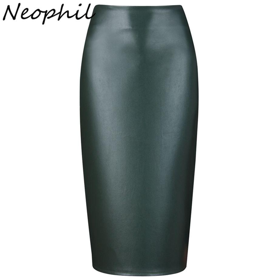 Neophil 2019 dames Sexy brillant Faux cuir Midi crayon jupes taille haute hiver élastique moulante Sexy bureau court Saias S0308
