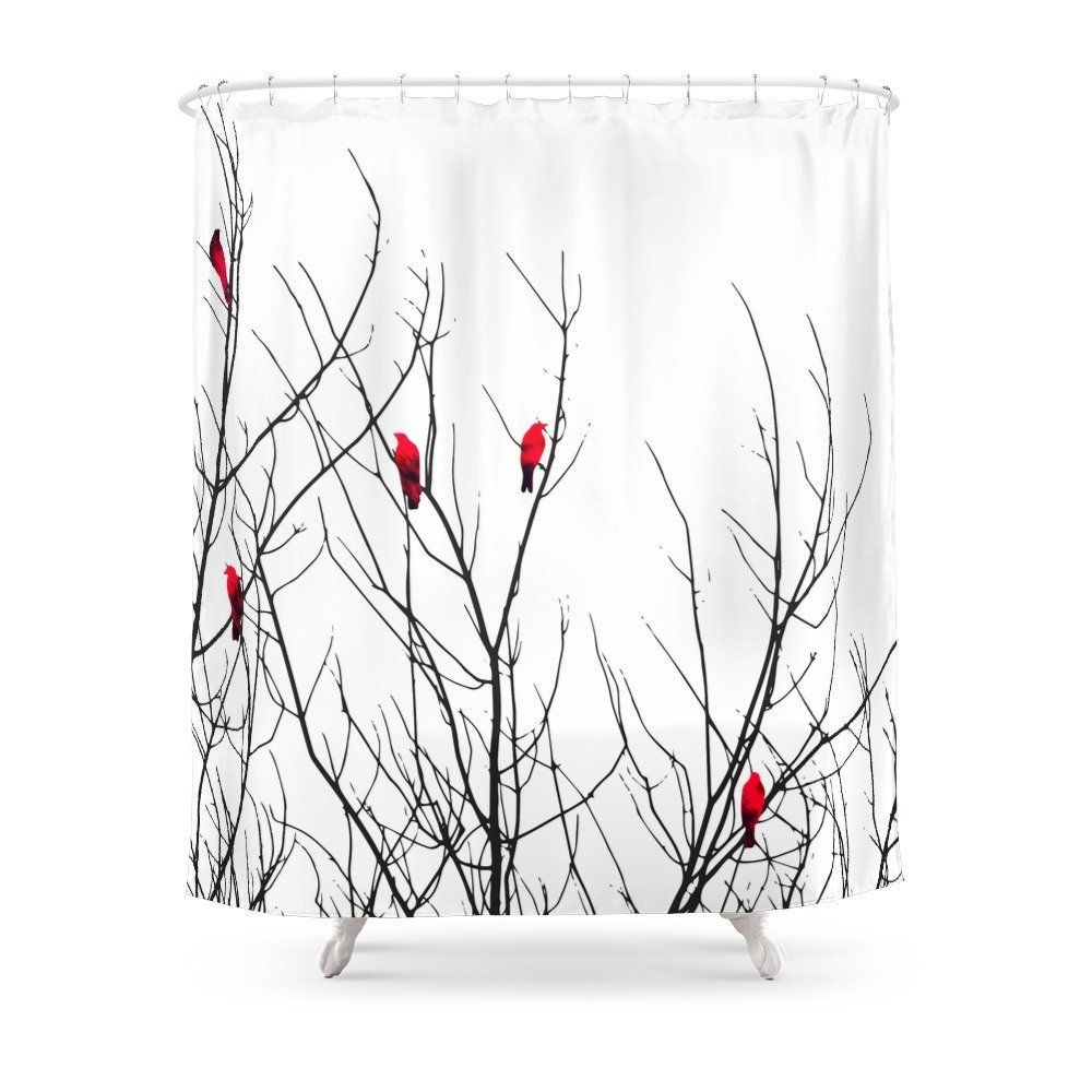 Artistic Bright Red Birds On Tree Branches Shower Curtain Waterproof Polyester Eco-friendly Antibacterial Shower Curtains
