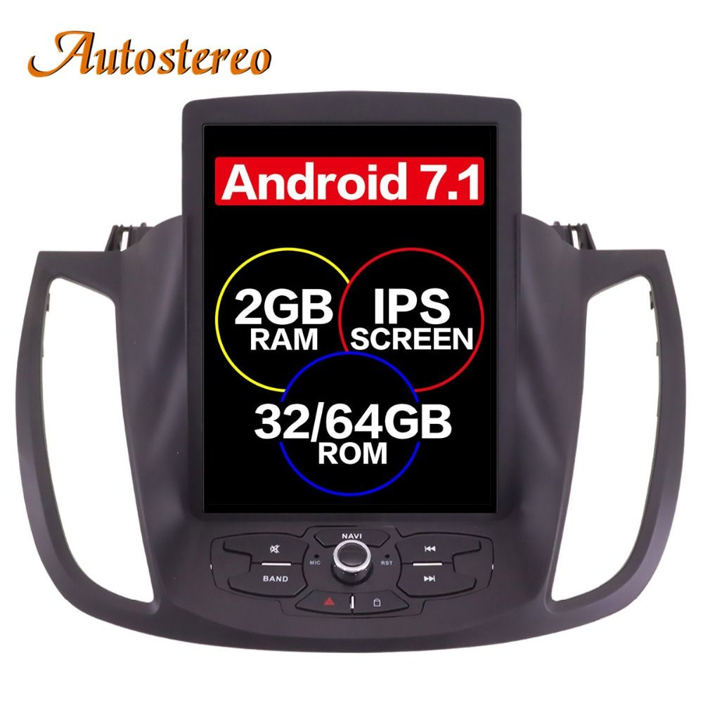Android 7 Tesla style Car No DVD Player GPS Navigation For Ford Kuga 2013+ Auto stereo headunit multimedia radio tape recorder