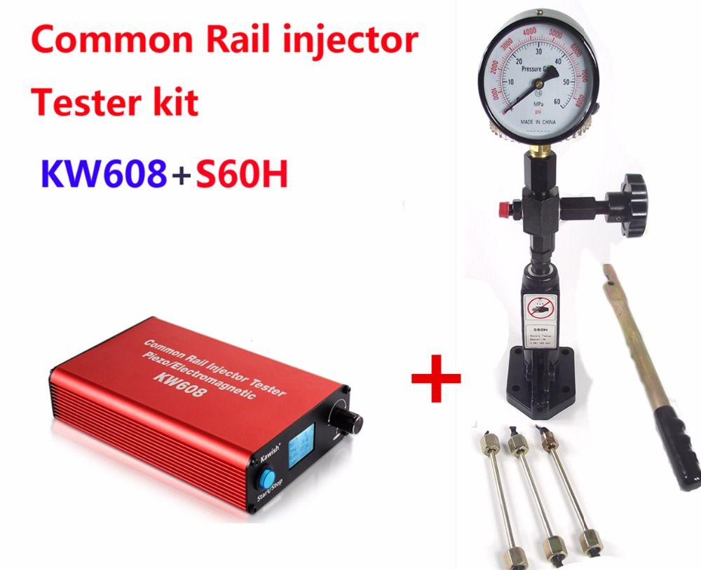 Common rail injector tester Kit KW608 multifunction diesel USB Injector tester and S60H Common Rail Injector Nozzle tester