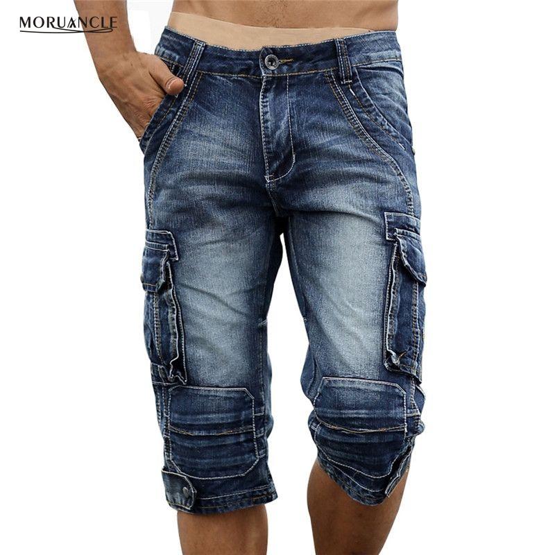 MORUANCLE Mens Retro Cargo Denim Shorts Vintage Acid Washed Faded Multi-Pockets Military Style Biker Short Jeans Plus Size 29-40