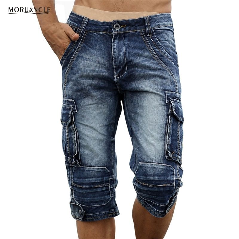 MORUANCLE Mens Retro Cargo Denim Shorts Vintage Acid Washed Faded Multi-Pockets Military Style Biker Short Jeans Plus Size 29-40
