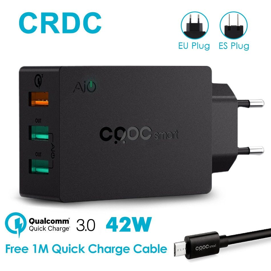 CRDC 3 Ports USB Charger QC 3.0 EU/US Plug The Max 2.4A Fast Charger adapter mobile phone charger for iPhone Xiaomi redmi 4x