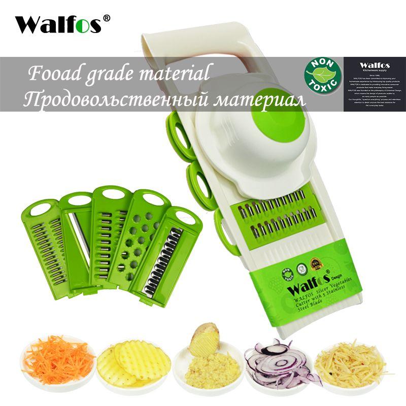 Walfos мандолина нож терка овощей резак инструментов с 5 blade терку морковь лук, растительное срез Кухня Интимные аксессуары