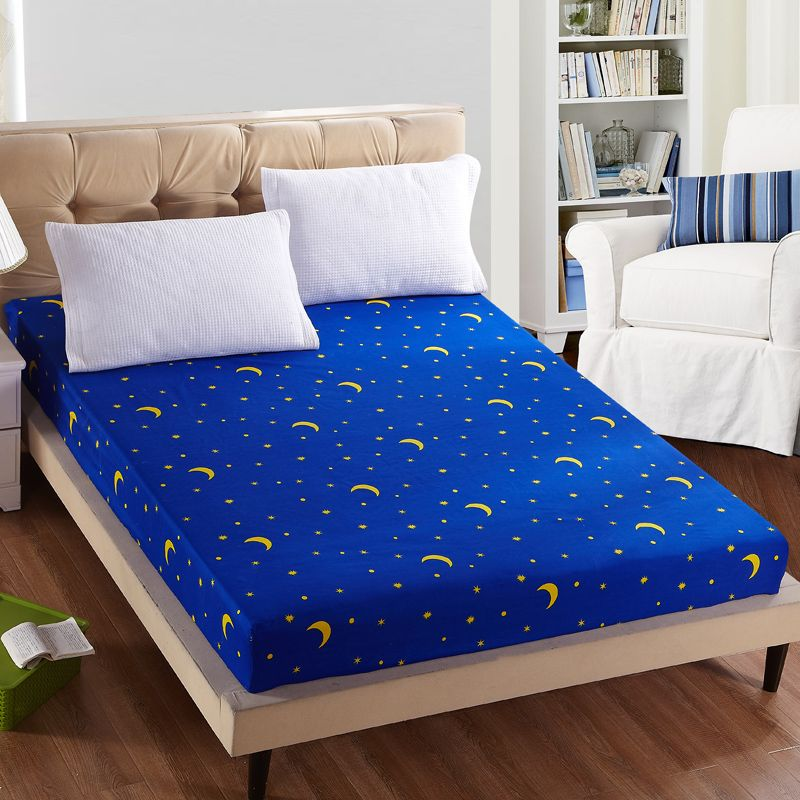 1pc 100%Polyester Fitted Sheet Mattress Cover Printing Bedding Linens Bed Sheets With Elastic Band <font><b>Double</b></font> Queen Size 160cm*200cm