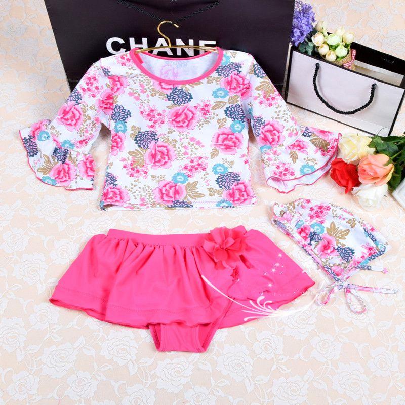 Neue Mädchen Zweiteilige Badebekleidung Für Kinder Aufflackernhülse Nettes Blume Rosa Kinder Badeanzug Rock Schwimmen Beachwear Badeanzug