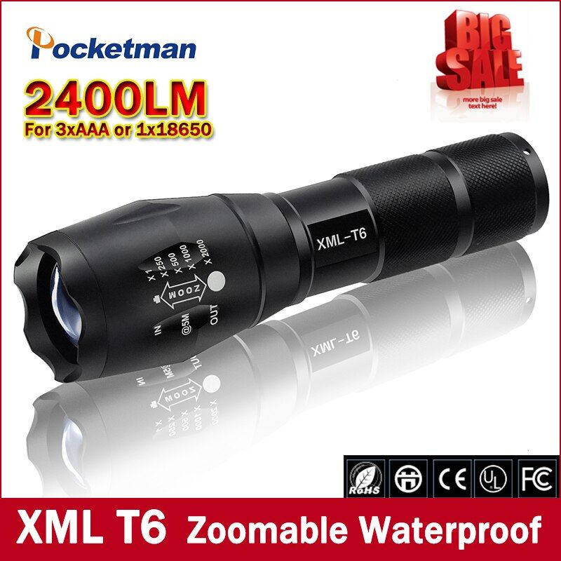 Big Promotion Ultra Bright CREE XML T6 LED Flashlight 5 Modes 2400 Lumens Zoomable LED Torch  Free shipping