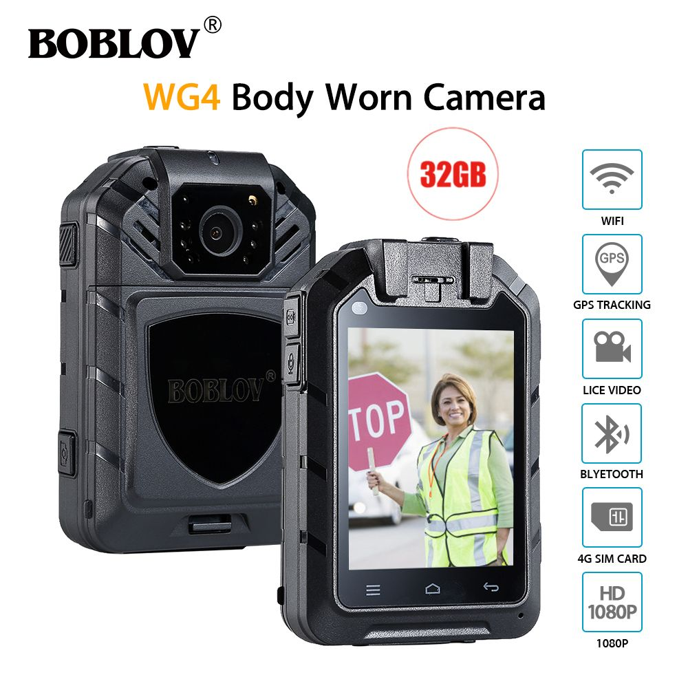 BOBLOV WG4 2.8 Inch LCD HD 1080P MTK Chip IR Night Vision Body Worn Camera 4G Wifi Wireless Police Camera GPS 16MP Video Camera