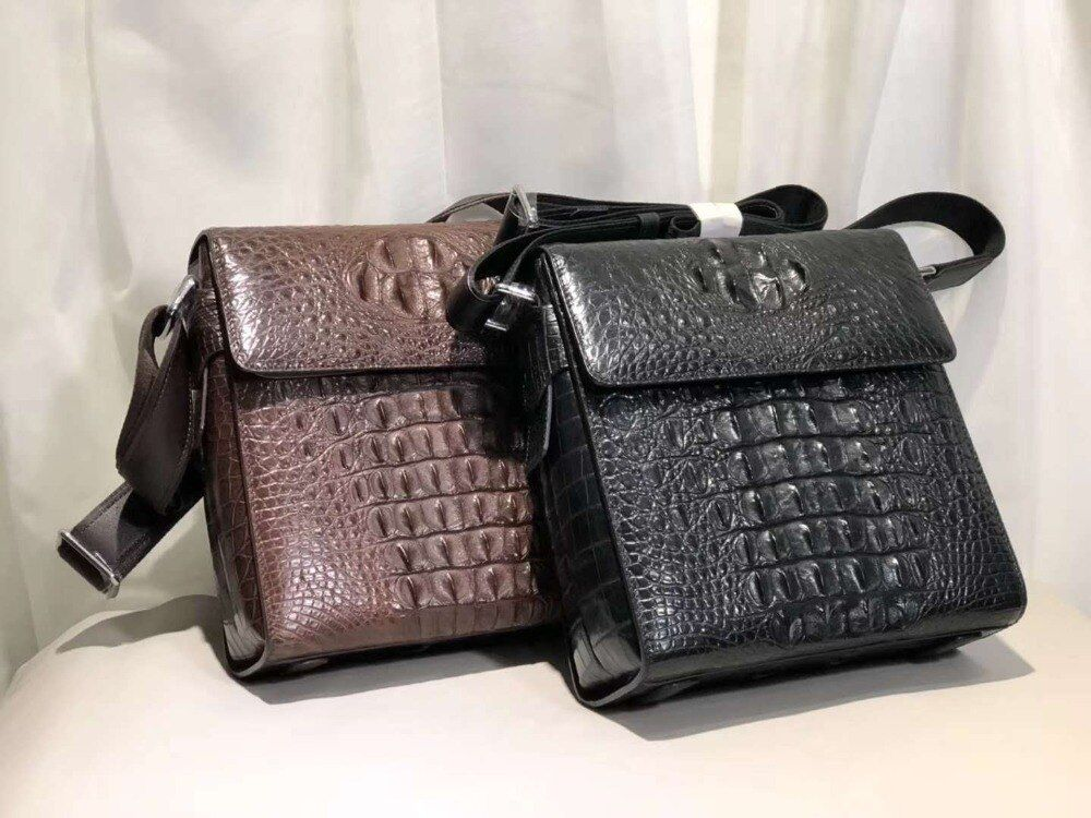 New production 100% Genuine real crocodile skin men shoulder bag cross body small bag with cow skin lining black and brown color