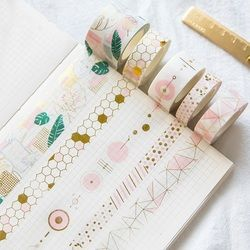 Fresh Pink Gold Foil Washi Tape Set Diy Decorative Scrapbooking Sticker Planner Masking Adhesive Tape Label Drop Shipping