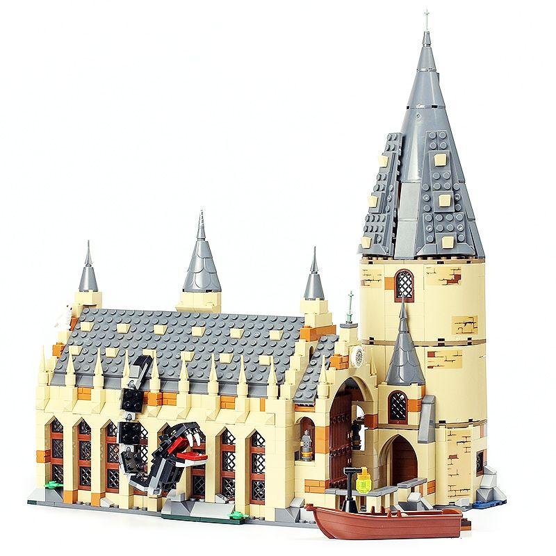 LELE 39144 Harry Potter Serices Hogwarts Great Hall Compatibility 75954 Harry Potter Building Blocks Bricks Toys For Children