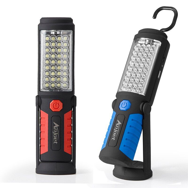 Anjoet Led Work Light Magnetic Emergency Torch Flash Hanging Lamp USB Rechargeable Flashlights Built-in 18650 for Auto Repair