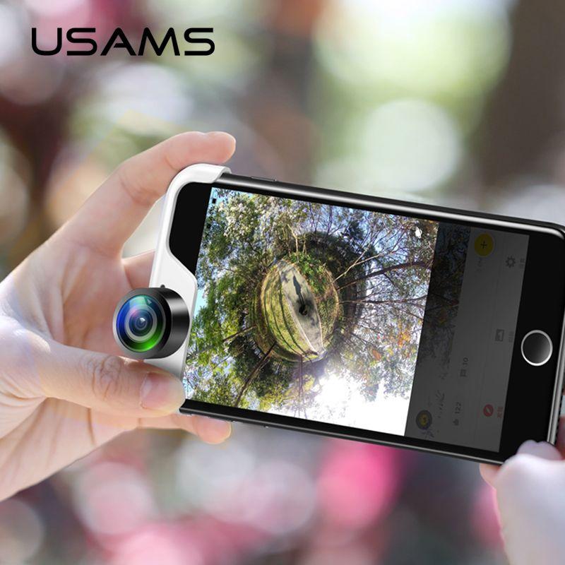 USAMS Original Téléphone Portable 360 Panoramique Caméra Lentille 2 Pcs Téléphones Objectif Vrai Panorama téléphone panorama shot lentille pour iPhone Panoclip