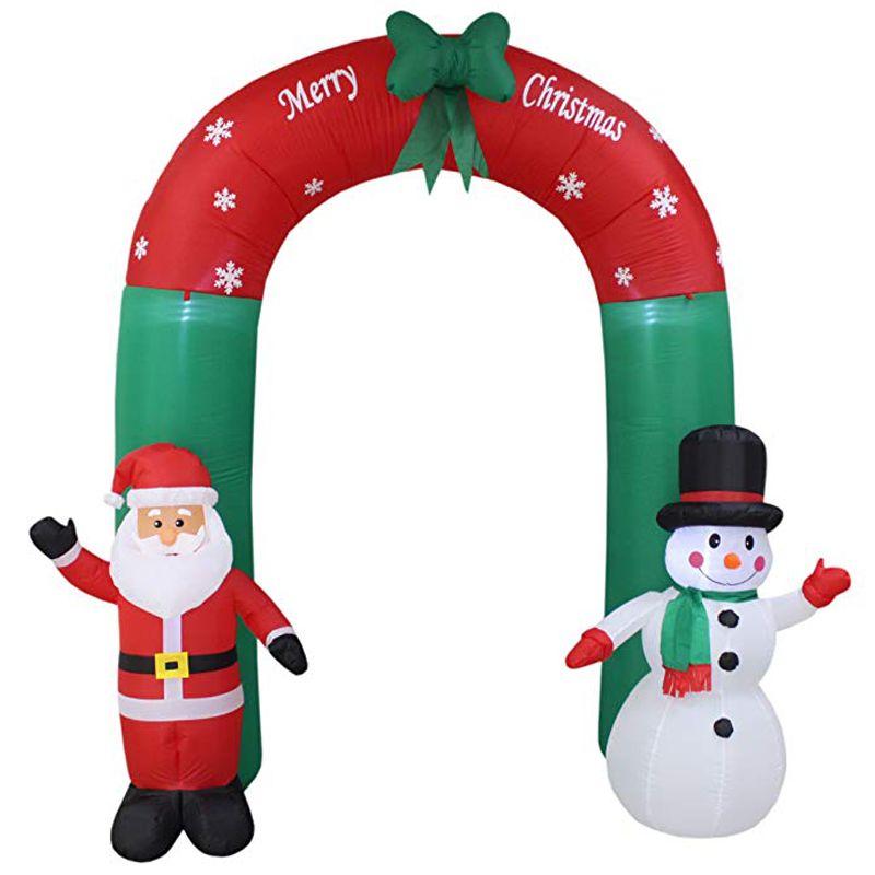 240 cm Riesen Santa Claus Schneemann Aufblasbare Arch Garten Hof Torbogen LED Licht mit Pumpe Weihnachten Halloween Requisiten Partei Schlag up