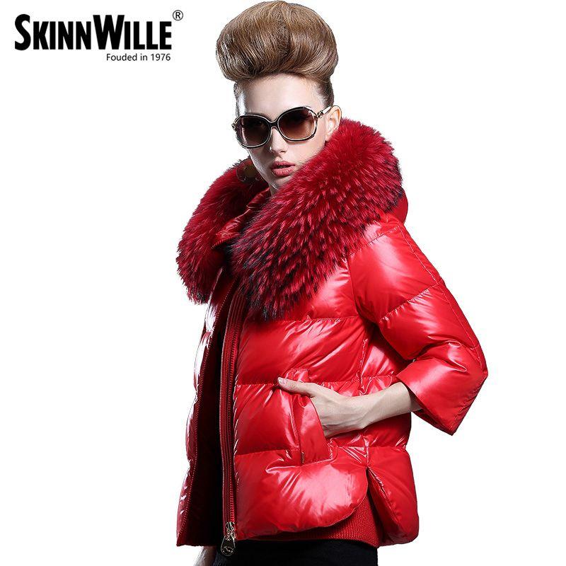 Skinnwille invierno Chaquetas Abrigos capa Abrigos de plumas chaqueta mujeres 2017 Pieles de animales invierno Eider Abrigos de plumas abrigo gruesa ropa de invierno