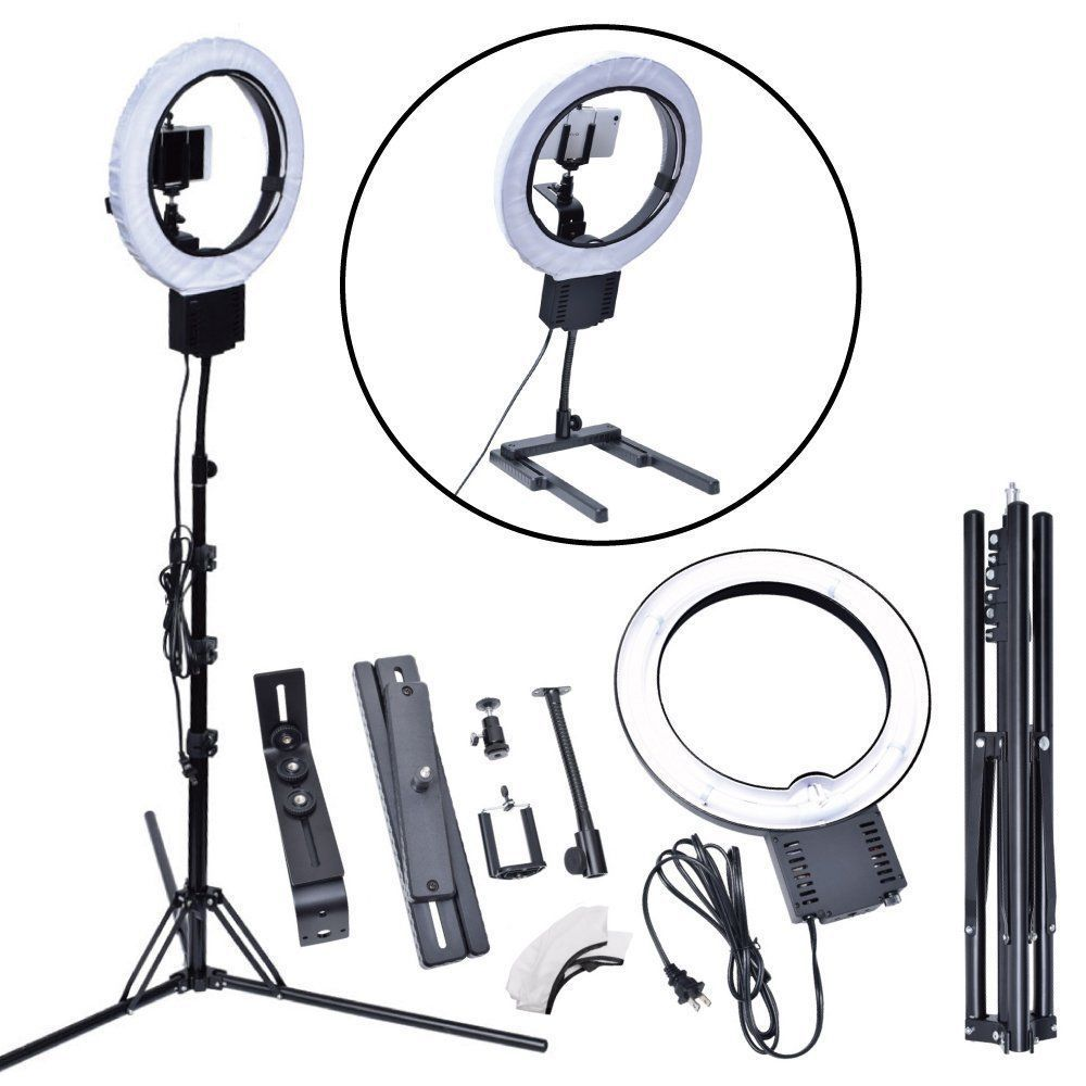 Studio 40W 5400K DIVA Ring Light with Tripod Stand Table Top Kit for Photography Camera Photo Video Phone Beauty Make Up Selfie