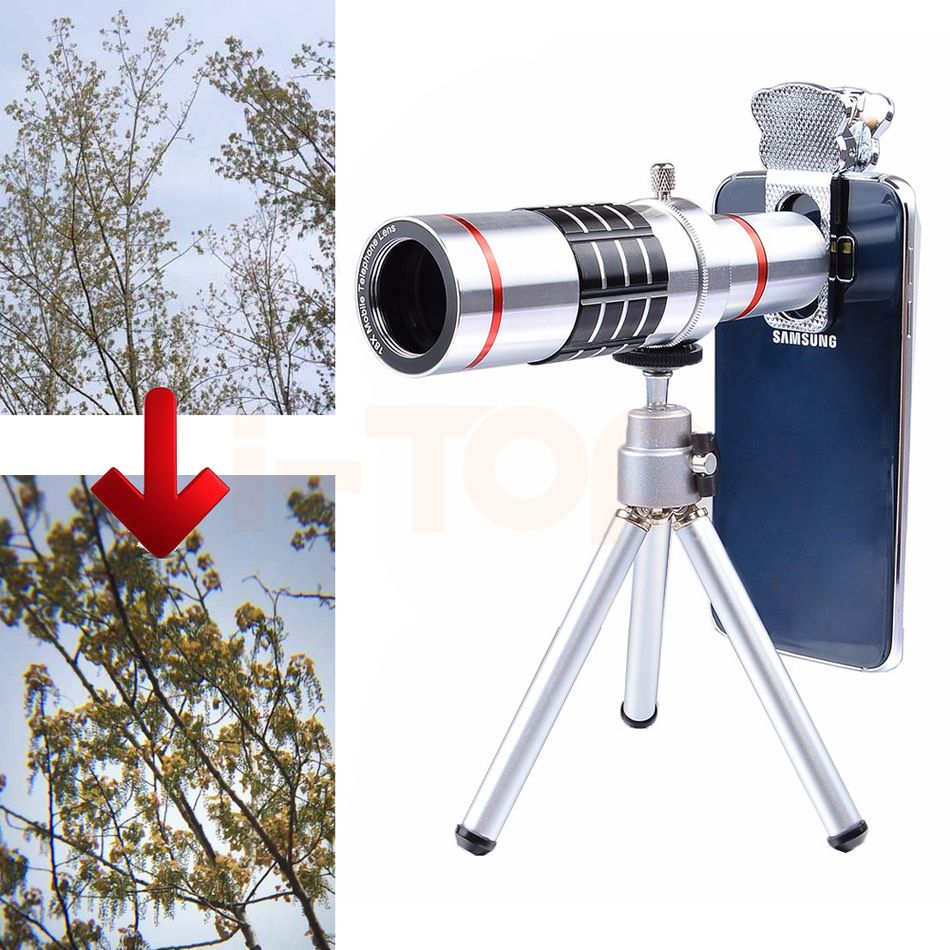 2017 Universal Clips 18X Optical Telescope Lens Camera Lenses Telephoto Zoom Lens For HUAWEI P9 P10 Honor 8 9 Cell Phone Tripod