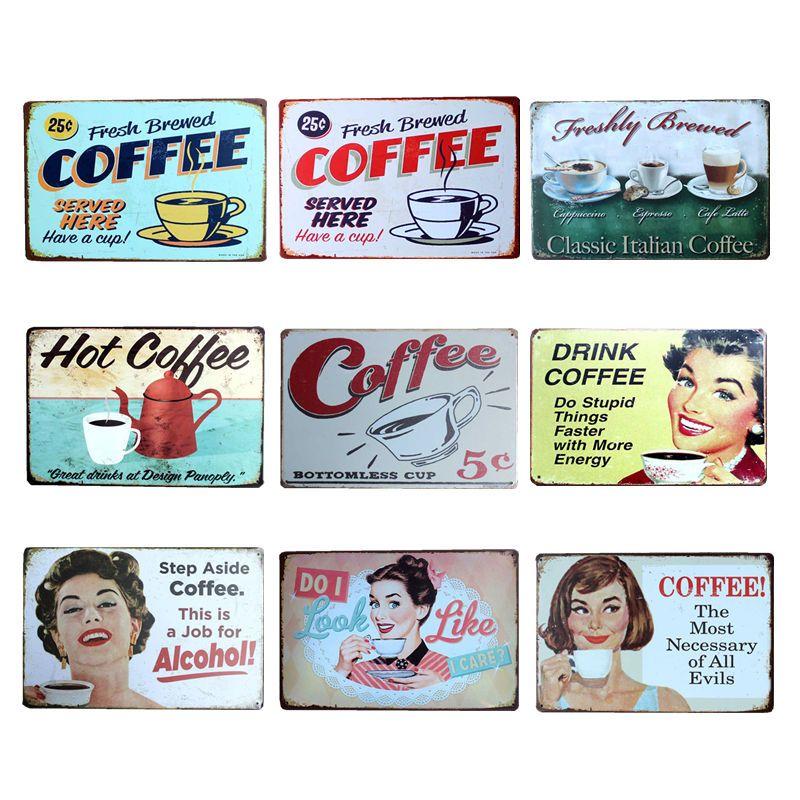 Café Menu Plaque métallique signes maison Art licence affiche décoration de la maison Plaque d'immatriculation étain décor mural 20*30 CM
