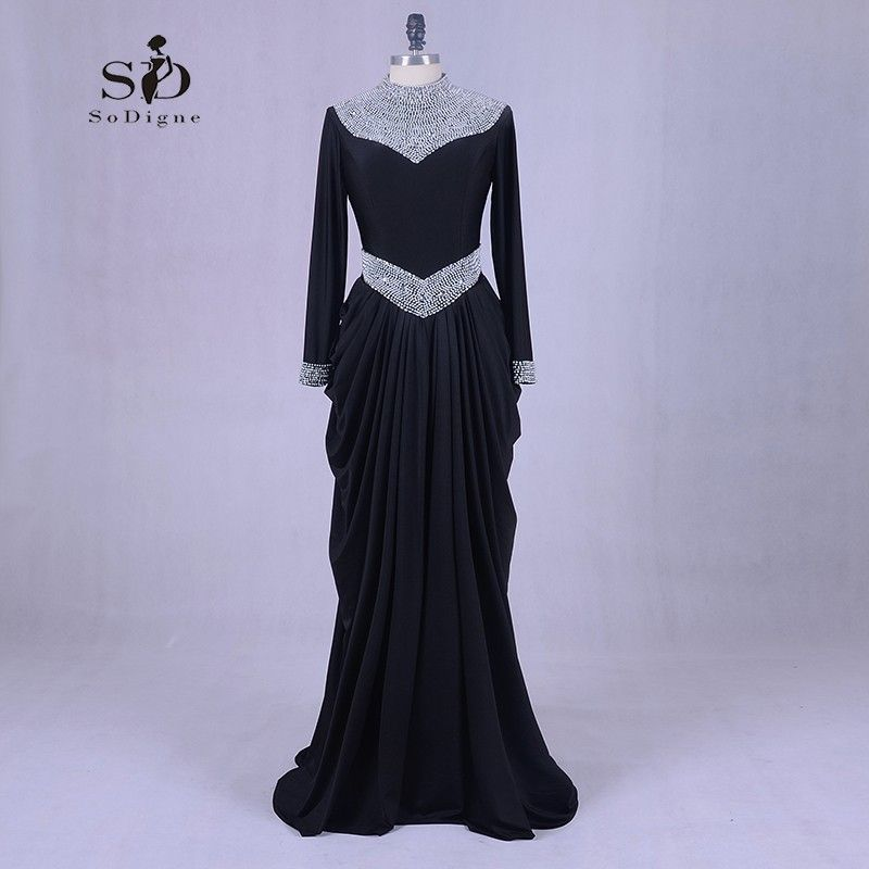 Muslim Formal Dresses Black Long Sleeve Evening Dresses Pearls High Quqality Floor-length Vestidos De Fiesta largos Elegantes