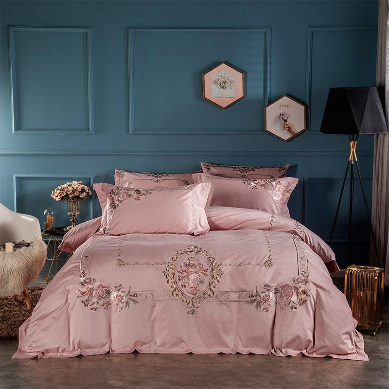 Staubigen Rosa Stickerei Blumen Luxus Bettwäsche set Ägyptischer Baumwolle Königin König größe Bett bettbezug-set bettlaken set Kissen shams
