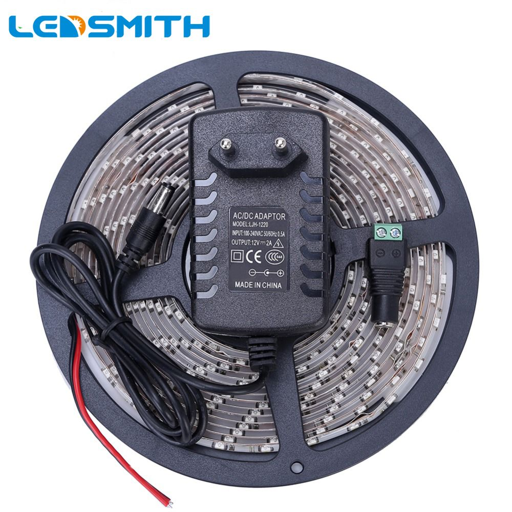 Bande de LED étanche 300 LED s 5 M 3528 SMD blanc froid/chaud rouge vert bleu jaune lumière ruban IP65 avec adaptateur secteur 12 V 2A