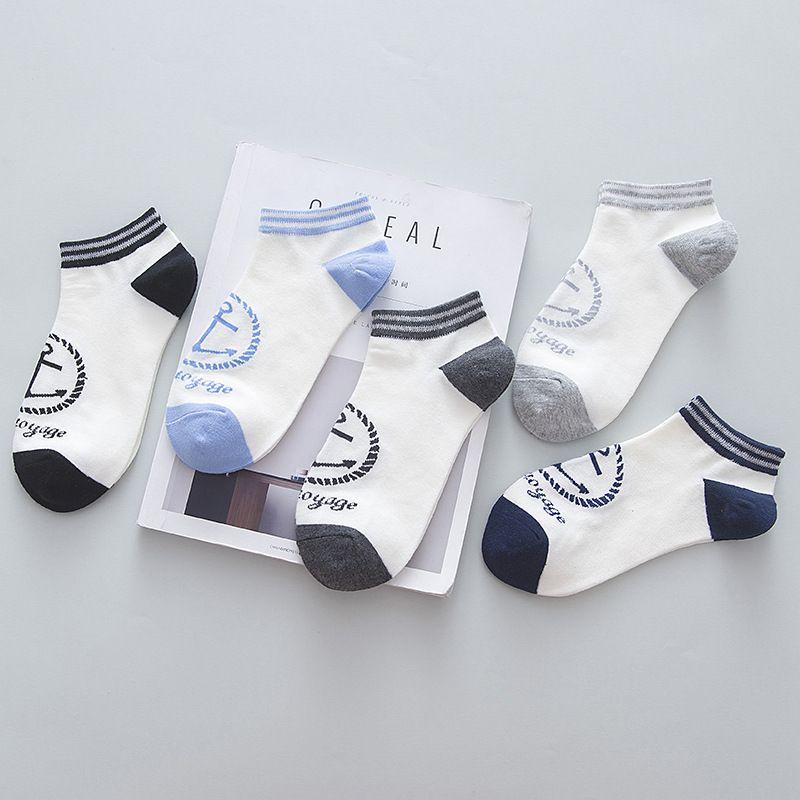 10 unidades = 5 pares de Primavera y Otoño Nuevo Sencillo tobillo calcetines Blanco Puro Delgado de Los Hombres Calcetines Calcetines de Algodón de estilo Navy Moda