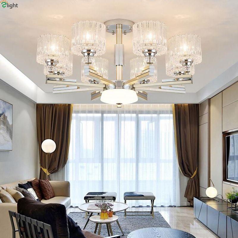 Moderne Chrom Nickel Led Kronleuchter Beleuchtung Wohnzimmer Glas Led Anhänger Kronleuchter Lichter Esszimmer Hängen Lampe Leuchten