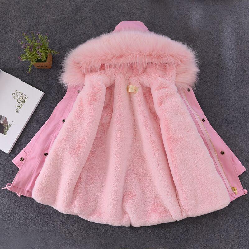 Зимнее пальто для девочек и мальчиков искусственного кролика Мех животных лайнер Куртки детская верхняя одежда для малышей Одежда для дево...