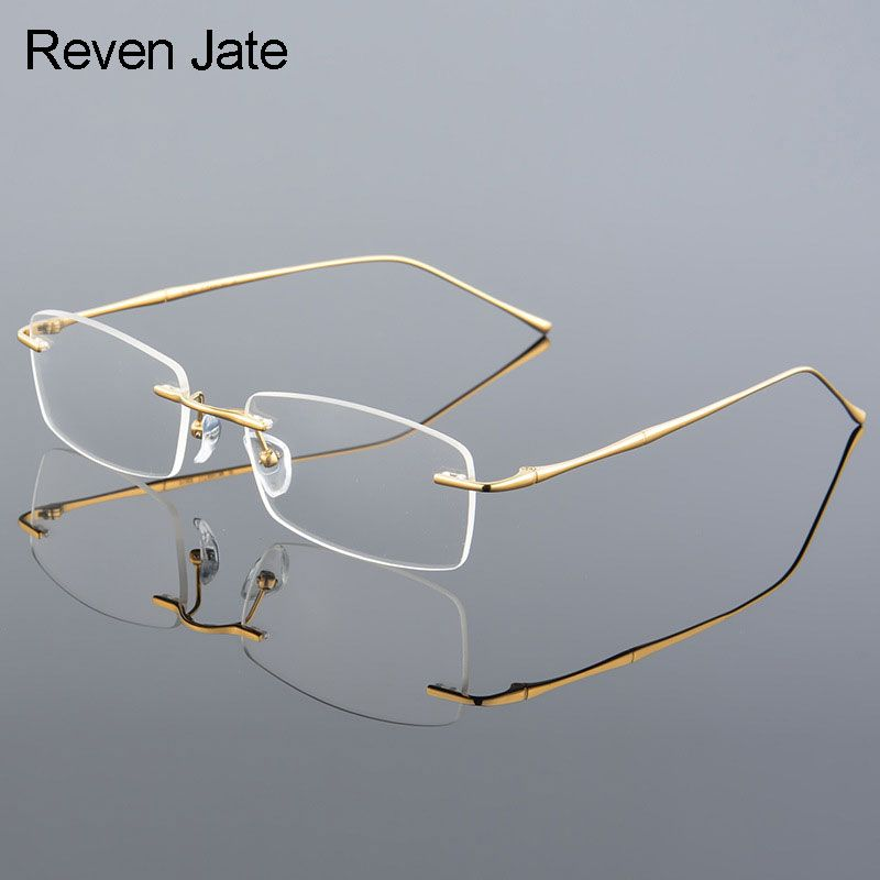 Reven Jate 632 Rimless Men Eyeglasses Frame Optical Prescription <font><b>Glasses</b></font> for Man Eyewear Fashion Rimless Spectacles