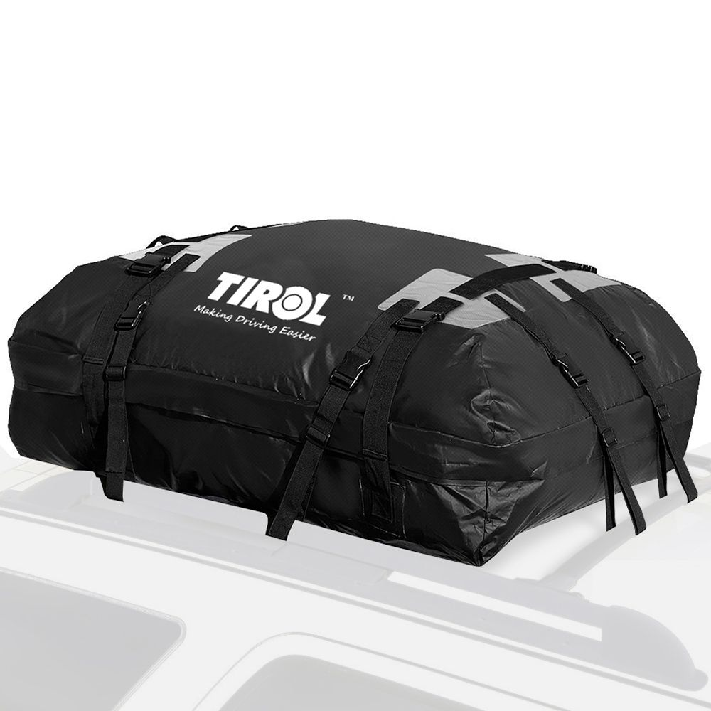 TIROL Waterproof Roof Top Carrier Cargo Luggage Travel Bag 15 Cubic Feet for Vehicles with Roof Rails