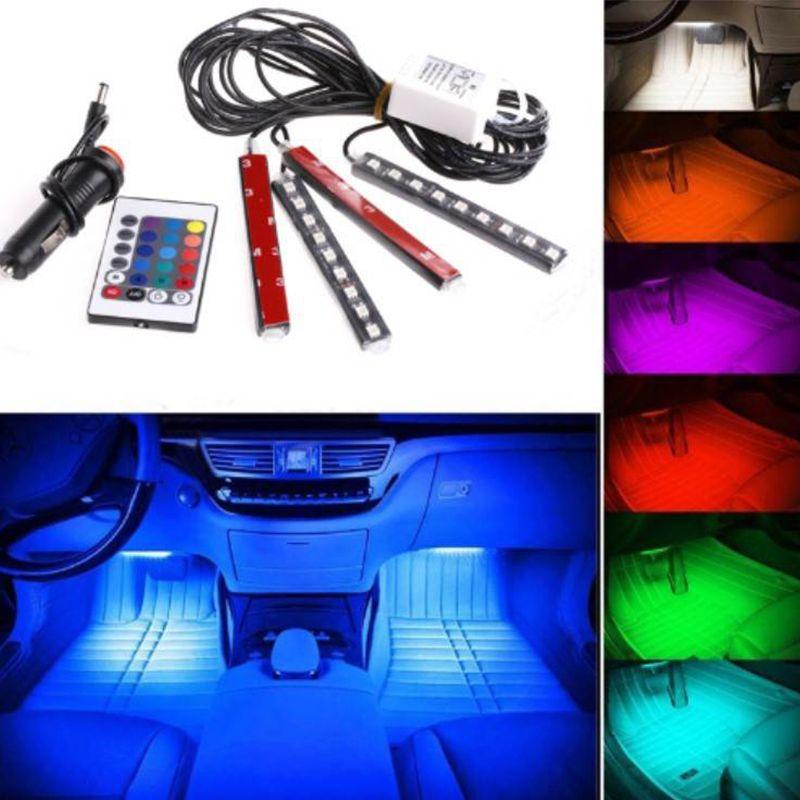 LISCN 4 pièces voiture RGB LED rampe d'éclairage à LED bande lumières couleurs voiture style décoratif atmosphère lampes voiture intérieur lumière avec télécommande